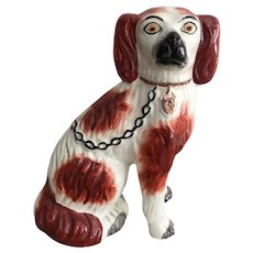 19th Century English Staffordshire Russet and White Seated Spaniel Dog