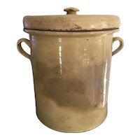 Antique Continental Yellow Earthenware Covered Olive / CONFIT Pot Jar