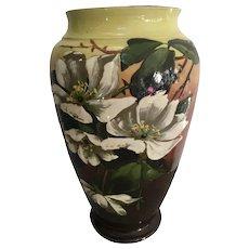 Antique English Longpark Torquay Art Pottery Magnolia Vase