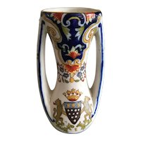 Antique French Faience Fourmaintraux - Freres Armorial Vase