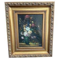 Vintage Gilt Framed Floral Still Life Oil on Canvas