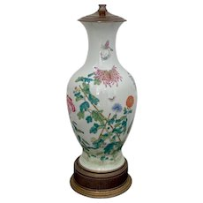Early 20th Century Chinese Export Porcelain Lamp by Crest Company Chicago