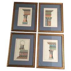 Set 4 Vintage Framed Architectural Ruins Prints