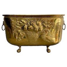 Antique Belgian Brass Copper Lined Oval Jardiniere