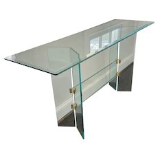 Pace Collection Style Modern Brass and Glass Console Table
