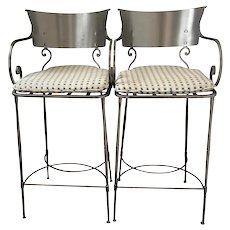 Vintage Italian Directoire Style Steel Bar Stools ~ a Pair