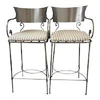 Vintage Italian Klismos Style Steel Bar Stools ~ a Pair