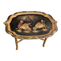Vintage Victorian Style Lacquer Tray Table With Monkeys
