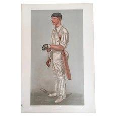 Antique Original 1901 Vanity Fair Spy Cricket Print ~ Gilbert Laird Jessop