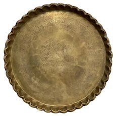 Vintage Moroccan Style Engraved Brass Tray
