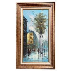 Mid-Century Impressionist Oil Painting Paris Street Scene by Rivira