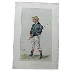 Original 1882 Vanity Fair / SPY Print ~ JOCKEY ~ George Fordham