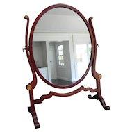 Antique Edwardian Mahogany Oval Dressing Table Mirror