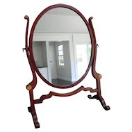 Antique Edwardian Mahogany Oval Dressing Table Mirror