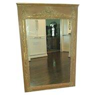 Vintage French Painted Parcel Gilt Trumeau Mirror