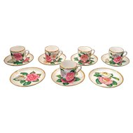 Early 20th Century Copeland Spode Camellia Demitasse Cups and Saucers