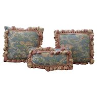 Beautiful Vintage Set 3 Silk Lampas Brocade Fringed Pillows
