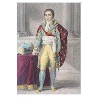 19th Century French Hand Colored Steel Engraving ~ Joseph-Napoléon Bonaparte