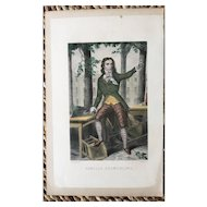 19th Century French Hand Colored Steel Engraving ~ Camille Desmoulins