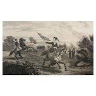 19 C Engraving - Civil War Nurse Leaving the Hospital Tents for Battlefield