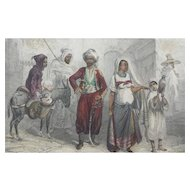 19th Century Steel Engraving - Costumes du Maroc / Morocco