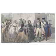 19th Century Steel Engraving - Costumes De Majorque / Majorca
