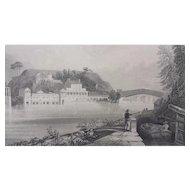 19th Century W.H. Bartlett Engraving Schuylkill Water Works Philadelphia