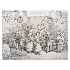 19th Century Steel Engraving - Ludwig Richter's A Song of Welcome