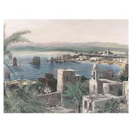 19C Hand-Colored-Engraving-TYRE-PALESTINE by Fenn