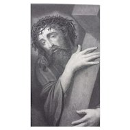 1877 Steel Engraving of Jesus Christ Carrying the Cross - Ecce Homo