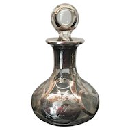 Antique Art Nouveau Sterling Silver Overlay Perfume Bottle