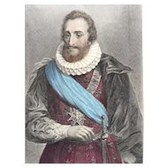 19th Century Hand Colored Engraving - Henry IV of France
