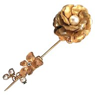 Vintage Miriam Haskell Gilded Flower Pearl Stick Pin