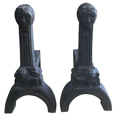 Pair Antique French Gothic / Arts and Crafts Cast Iron Andirons