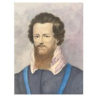 19th Century Hand Colored Engraving of Robert Devereaux - Earl of Essex