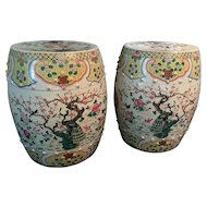 Pair of Antique Chinese Famille Rose Porcelain Garden Seats