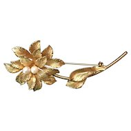 Vintage HOBE 12K Gold Filled Flower Pin with Pearls