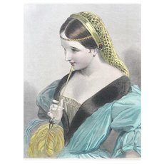 19th Century Hand Colored SHAKESPEARE Henry IV Engraving - Princess Katherine of France