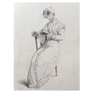 Early 19th Century Ackermann's Repository  Hand Colored Ladies Fashion Engraving