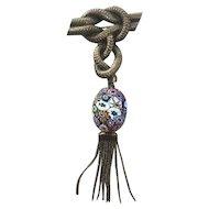 Vintage Knot Tassel Brooch w/ Large Italian Millefiori Glass Bead