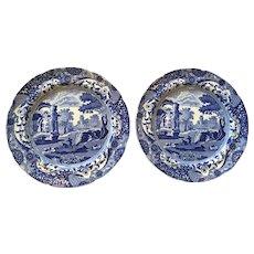 Pair Early 19th Century SPODE ITALIAN Blue and White Transferware Plates