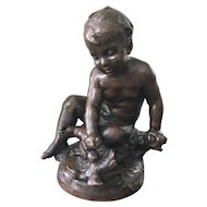 Antique Bronze Sculpture after Auguste Moreau - Enfant au Canard / Child with Duck