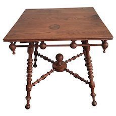 Antique Victorian / Arts and Crafts Oak STICK and BALL Square Table
