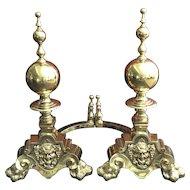 Pair 19th Century Monumental English Brass Mythological Andirons