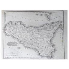1847 Malte-Brun SICILY Map
