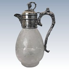 Antique Victorian BACCHUS Silver Plate and Crystal Claret Jug
