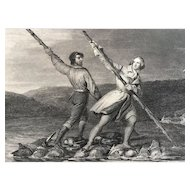 19th Century Engraving ~ George Washington Crossing the Allegheny