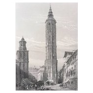 19C Steel Engraving - Leaning Tower of Saragossa Spain
