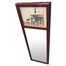 Vintage Fred Thompson Hand-Colored Framed Photograph Mirror
