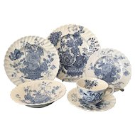 Set Royal Staffordshire Charlotte Blue & White China - Service for Six